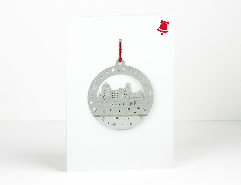Postal decoración de Navidad metal